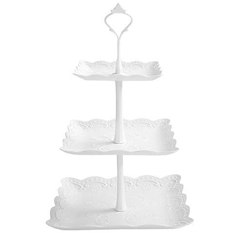 Jinlaili 3 Etagen Teller Plastik Weiß Tortenständer Kuchenständer, Cupcake Ständer Muffin Ständer Käseplatte Dessert Ständer für Hochzeit Party Geburtstag Baby Duschen Kuchen Dessert Torten Etagere