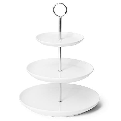 Sweese 735.101 Etagère Porzellan, Tortenständer 3 Stöckig, Etagen für Cupcakes, Muffins