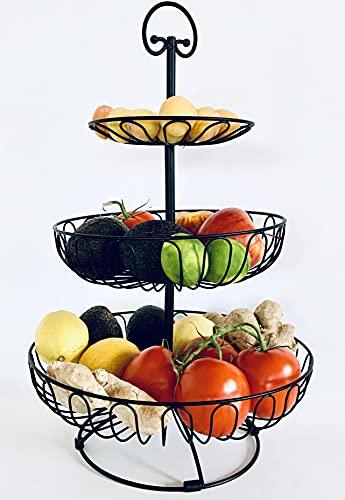 Auroni Obst Etagere 3 stöckig Obstkorb Obstschale Metall - schwarz-matt - Obstschalen sehr dekorativ für mehr Platz auf der Arbeitsplatte Küche - 47 cm hoch, max. Durchm. 30 cm größter Ablagekorb gekö