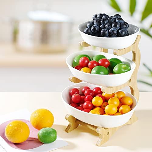 Obst Etagere Keramik 3 Stöckig Porzellan Obstteller 3 Etagen Obstschale mit Natürlichem Bambus Ständer Servierteller für Obst, Kuchen