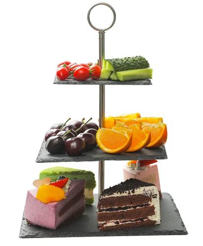 Schiefer Etagere 3 Etagen Eckig - Standfest - Belastbar - Für Dessert und Obst