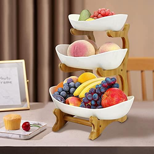 Obstkorb Etagere 3 Etagen,Obst Etagere 3 Stöckig Keramik mit Ständer,Vintage Obstschale Servierschale Etagere für Obst,Gemüse,Kuchen(Weiß)